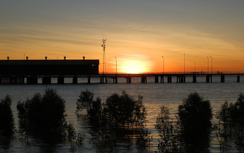 7 days from darwin to broome via the great northern highway sunset over mangroves and derby jetty western australia sciox Images