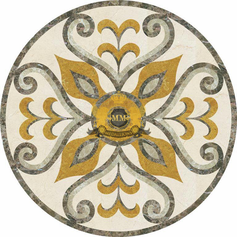 Marble Floor Inlay Cutting : Circle cut water jet marble mosaic decorative floor medall