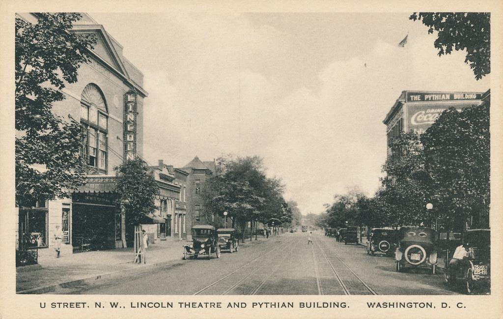 U street nw c 1925 a rare postcard view of u street for Furniture u street dc