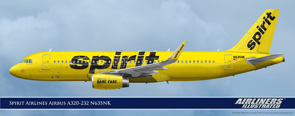 Spirit airlines airbus a320 232 n635nk realistic for Spirit airlines one way