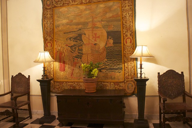 17th century tapestry in wall vintage furniture