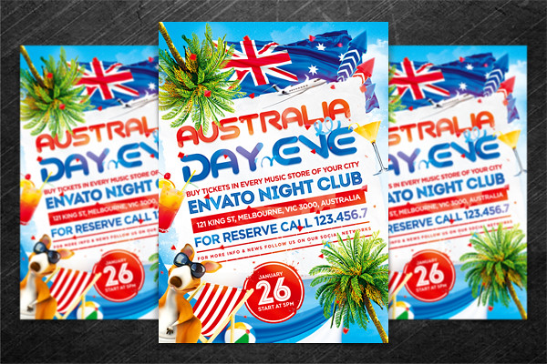 australia day party flyer  psd template