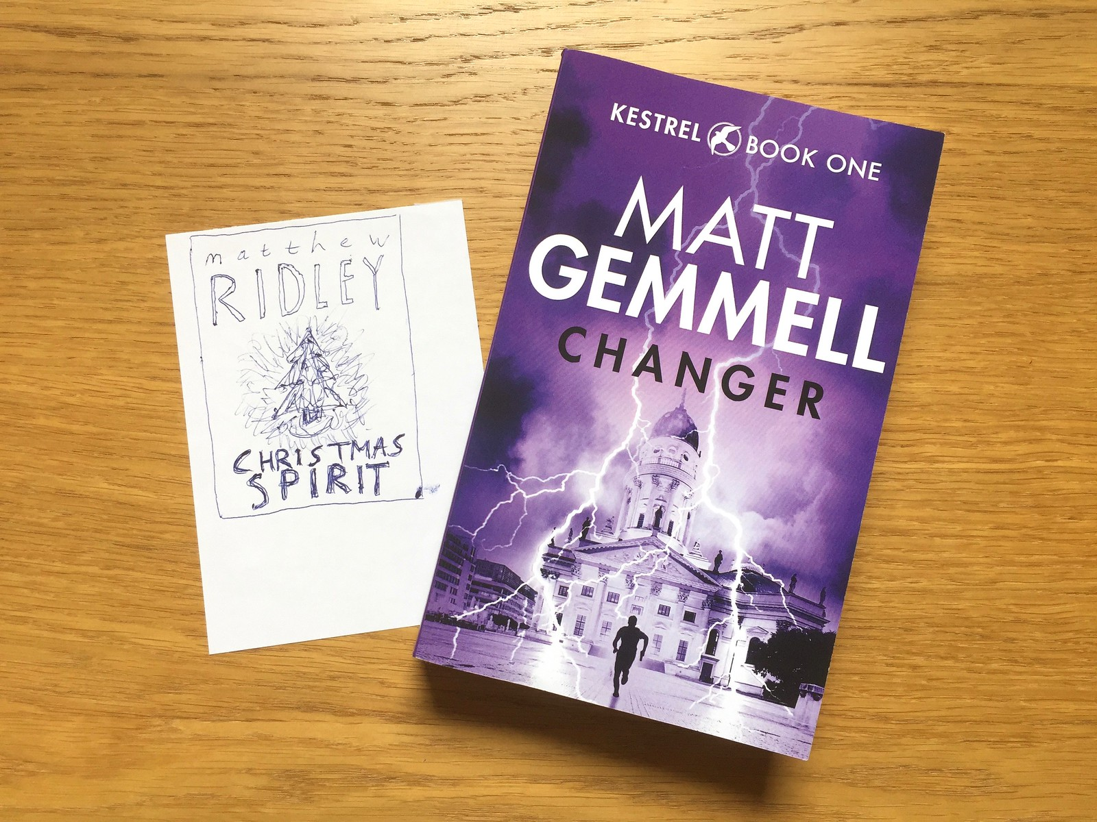 Photo of Matt Gemmell's novel, CHANGER, alongside his hand-drawn childhood book cover.