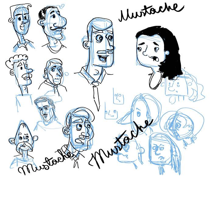 mustache concept sketches