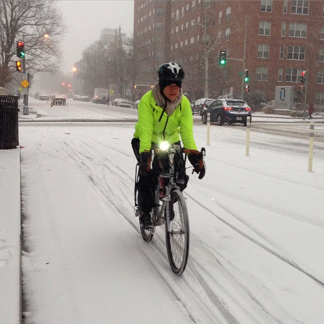 Snow cyclist on 15th St #bikedc #igdc