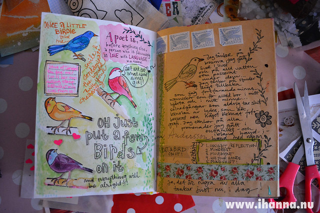 Art Journal spread by iHanna: Put a bird on it and make it all better