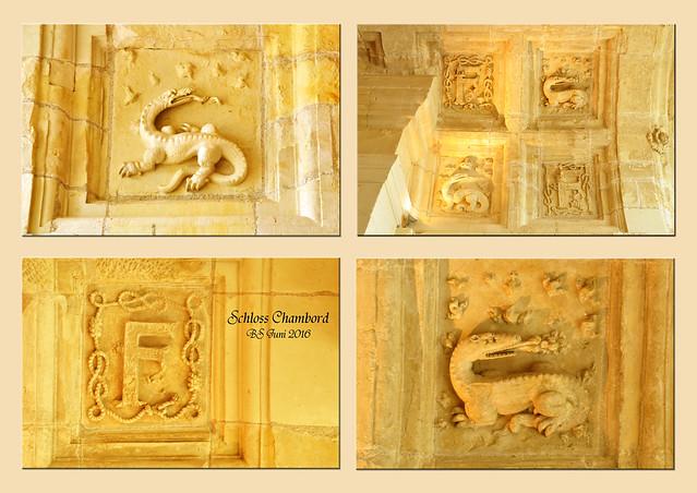 Schlösser der Loire - Château de Chambord - Schloss Chambord - Franz I. - Besichtigung der Innenräume - Skulpturenschmuck der Decken - Wappentier Salamander - F wie Franz - Fotos und Collagen: Brigitte Stolle 2016
