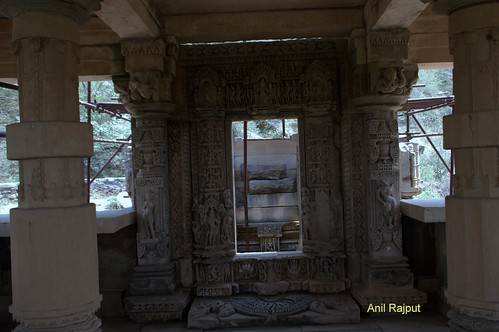 Mandap and Antralaya , beautiful carvings at door way to Garbhagriha of Lord Vishnu temple Bateshwar group of Temples