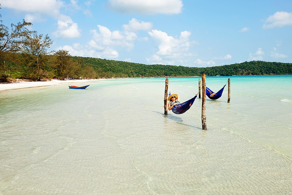 Koh Rong Samloem Island - Hammocks in the Ocean