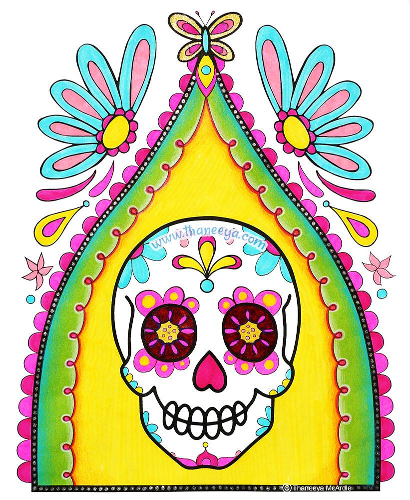 sugar skull coloring pages thaneeya - photo#25