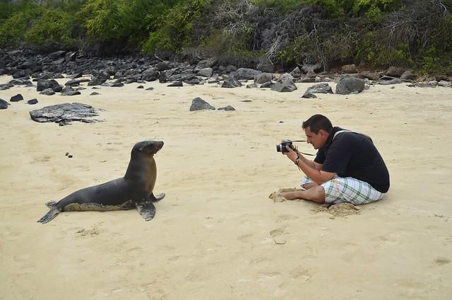 Sele en Galápagos haciendo una foto a un león marino