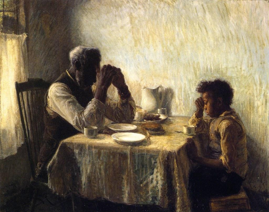 """19世紀畫家亨利・泰納繪作 <em>The Thankful Poor</em>。(影像來源:<a  data-cke-saved-href=""""https://commons.wikimedia.org/wiki/File:The_Thankful_Poor,_1894._Henry_Ossawa_Tanner.jpg"""" href=""""https://commons.wikimedia.org/wiki/File:The_Thankful_Poor,_1894._Henry_Ossawa_Tanner.jpg"""">Wikimedia Commons</a>)"""