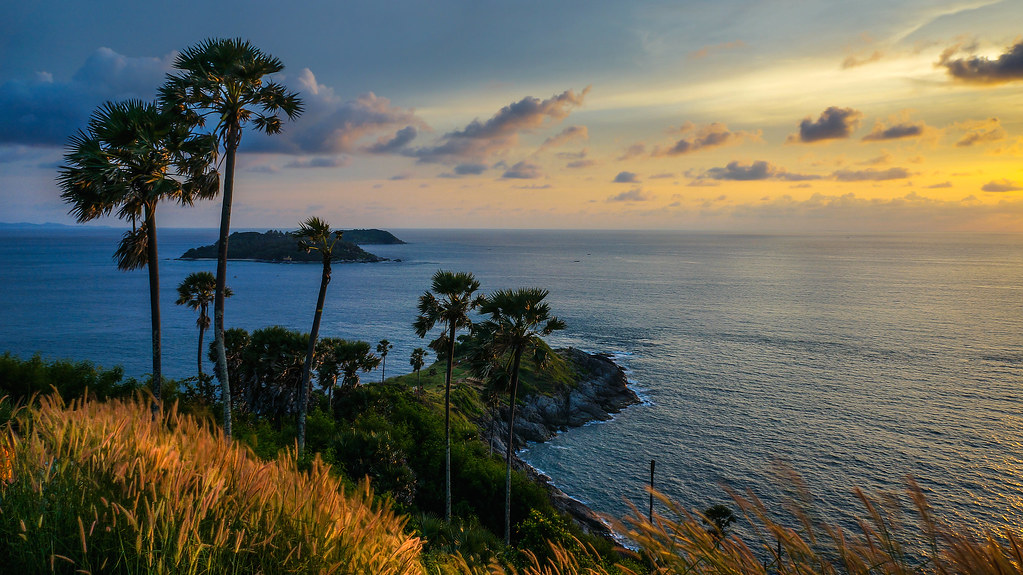 Golden Hour at Promthep Cape  Southern Thailand Many ...