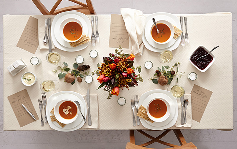 Millennial Minimalist Table Setting For Thanskgiving With