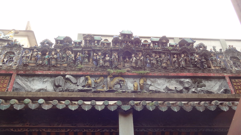 Carvings of idols and characters at the Pagoda of the Lady of the Sea