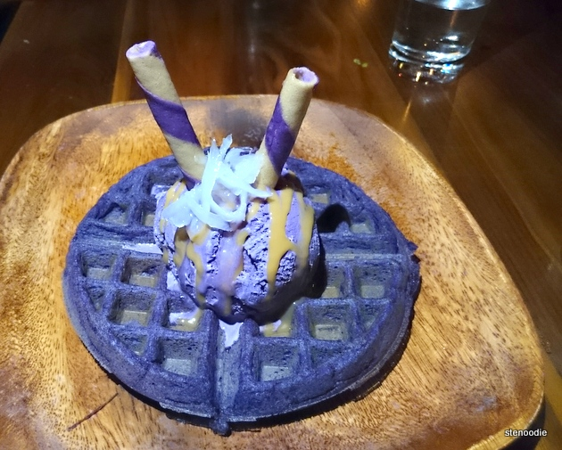 Platito Filipino Soul Food Ube waffles with ice cream