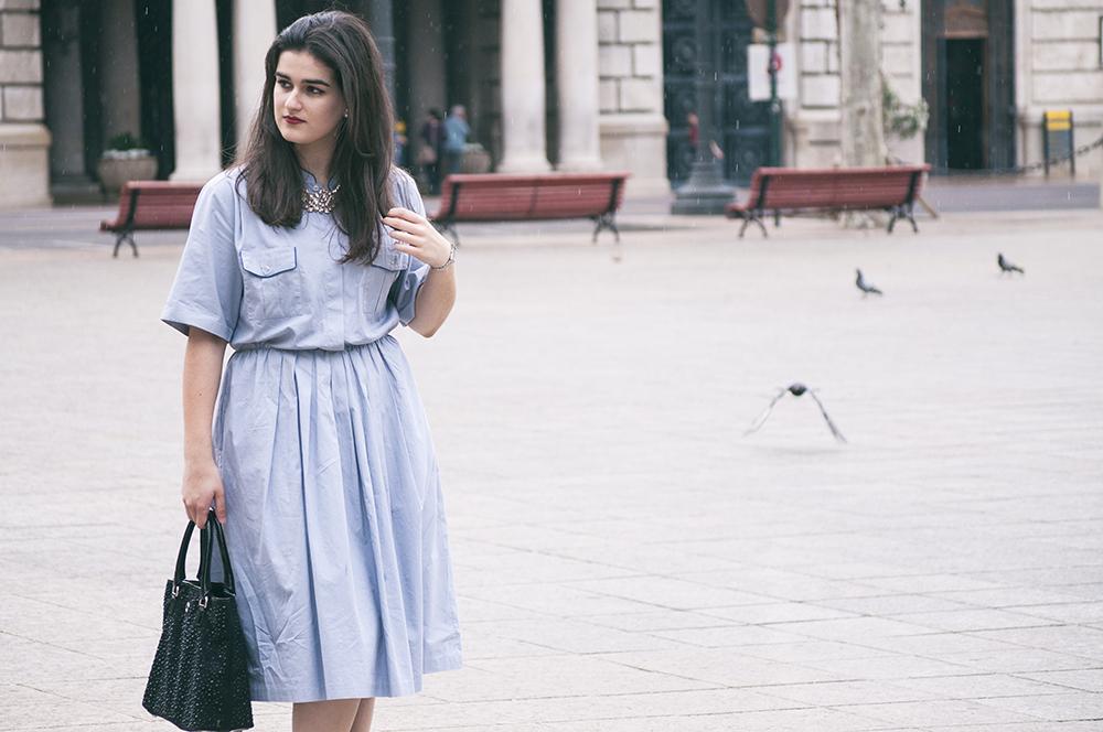 something fashion, blogger valencia spain, vintage la señora henderson, streetstyle 2016, blue shirt dress, how to style vintage, why wear vintage, dolce & gabbana sunglasses flowers
