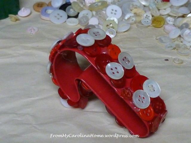 Candy Cane Button Ornament 4