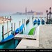 Italy - Venice - Piazza San Marco with moored Gongolas and San Giorgio Maggiore in background