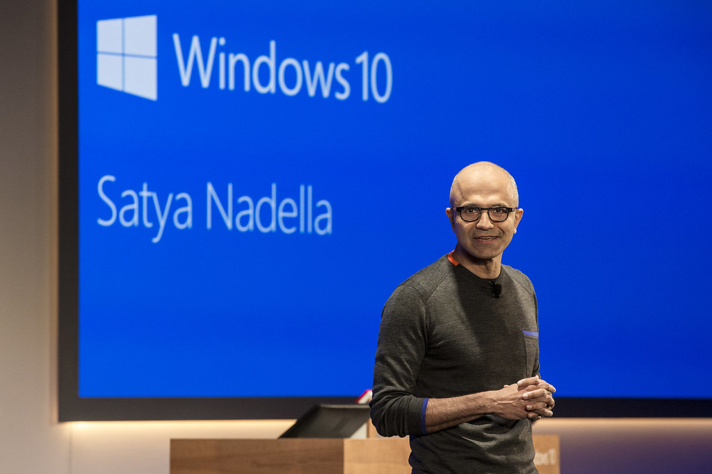 Satya Nadella introduces Windows 10 on stage
