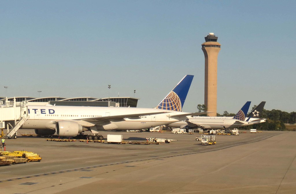 United Airlines Airliners And Control Tower At George Bush