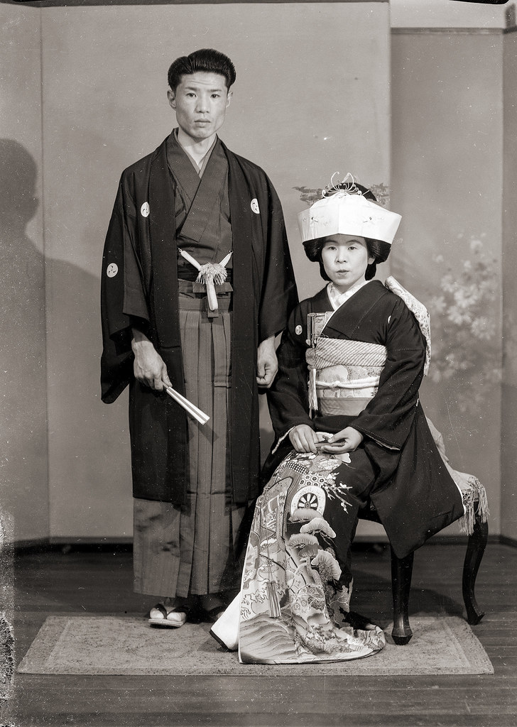 japanese couple in wedding kimono vintage a japanese coup flickr. Black Bedroom Furniture Sets. Home Design Ideas