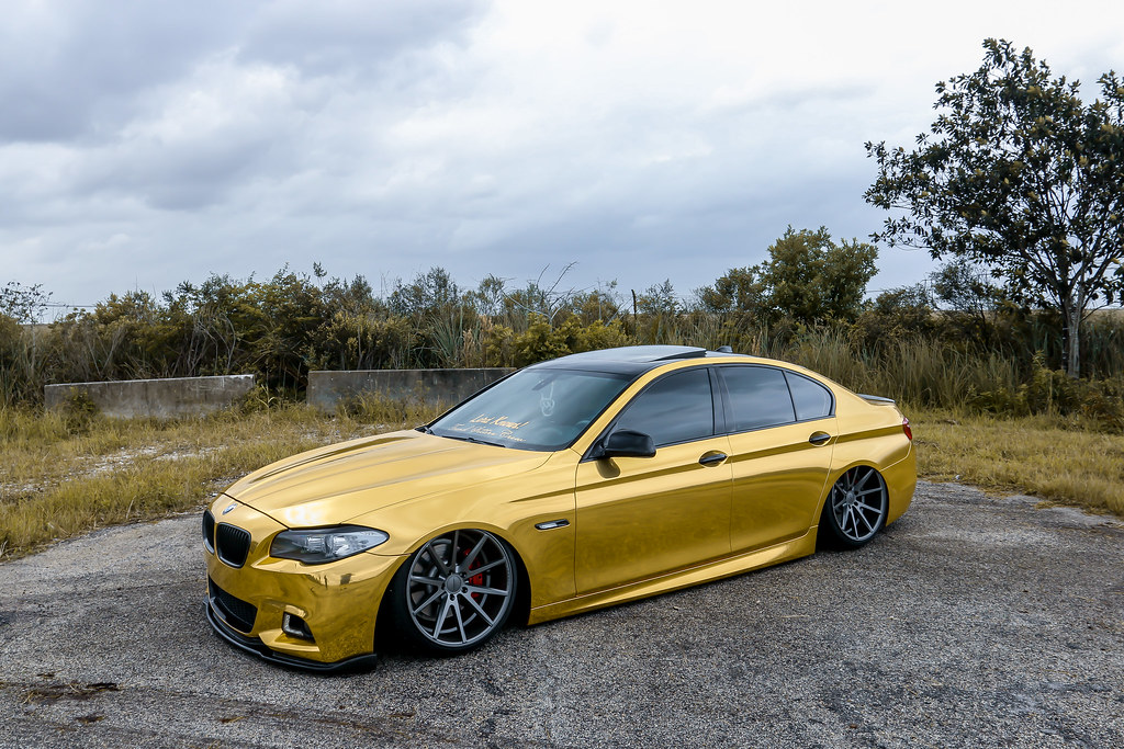 White 5 Series Bmw >> Bagged Gold Chrome BMW 5 Series on Vossen VFS1 | Owner: @lor… | Flickr