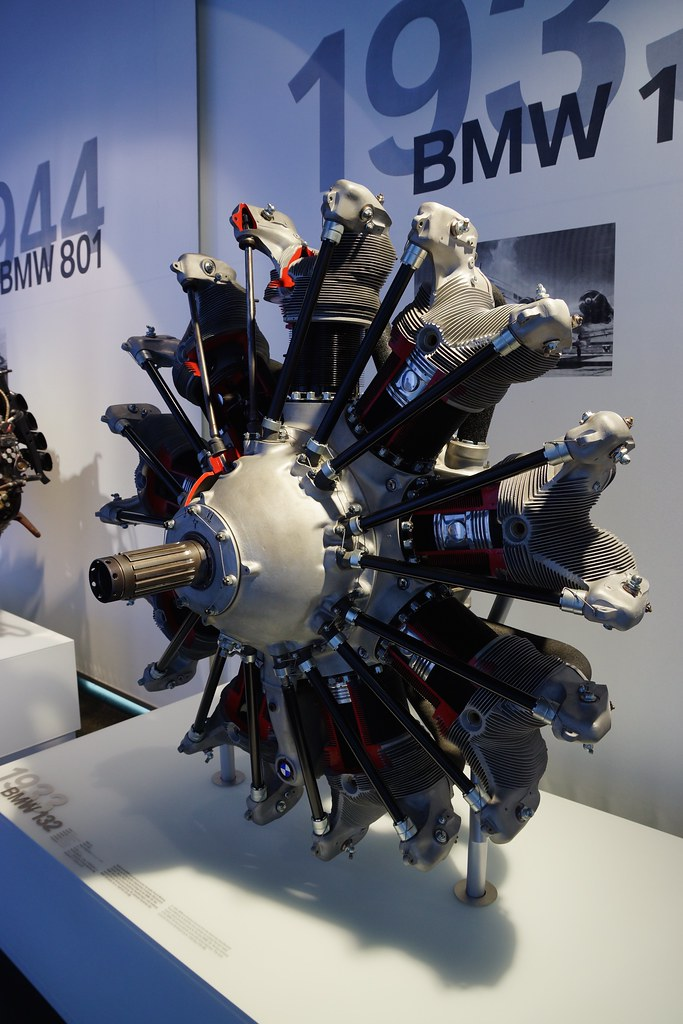 1933 BMW 132 radial aircraft engine at the BMW Museum in M ...