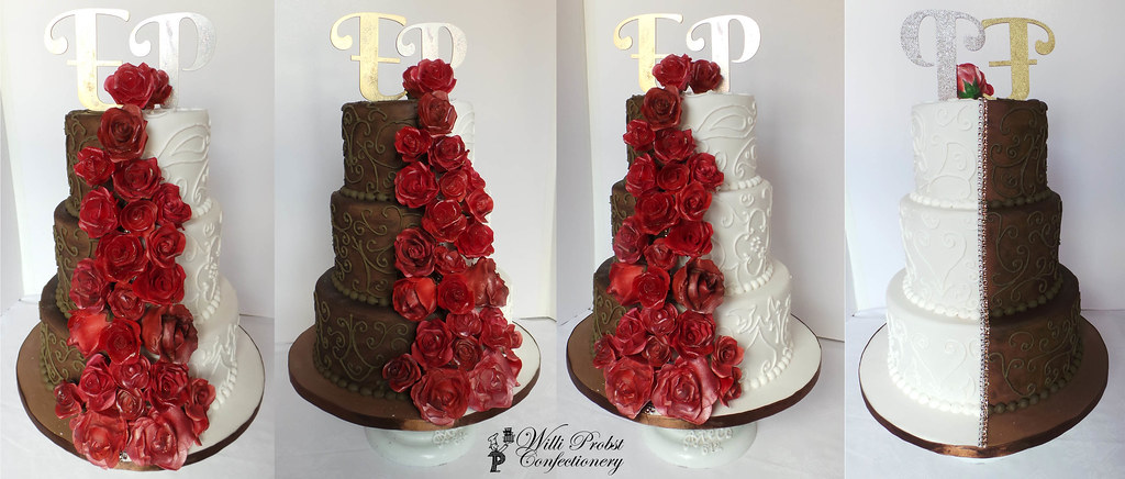 Half Brown Half White Wedding Cake With Red Roses