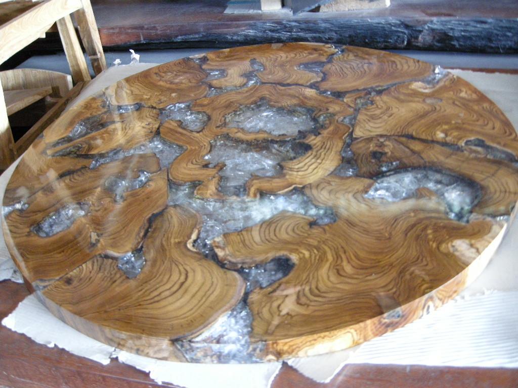 Cracked Resin Teak Root Table Top Cracked Resin Teak