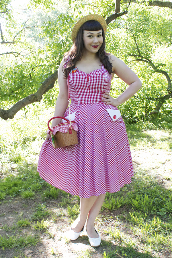 red gingham dress retro