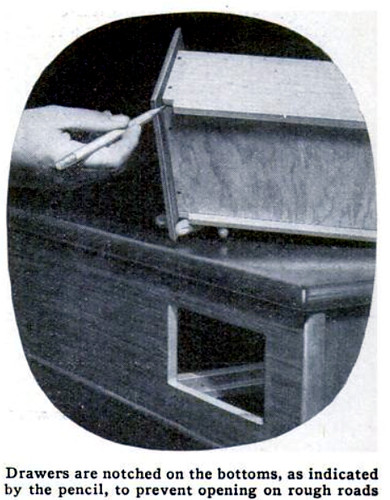 Drawers are notched on the bottoms, as indicated by the pencil, to prevent opening on rough roads. Popular Science April 1937
