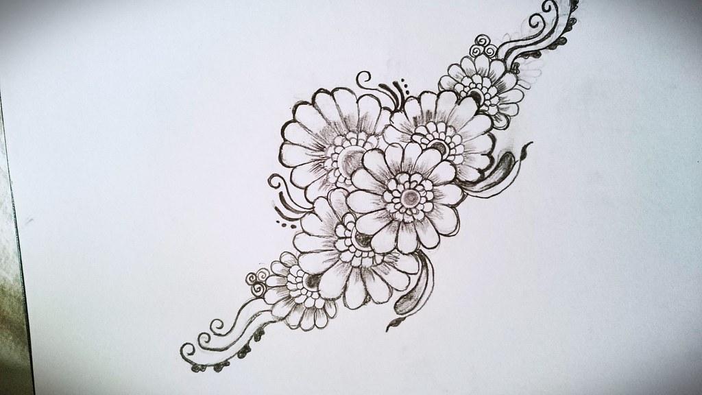 Henna Flower Inspiration Own Design Henna Drawing Flo