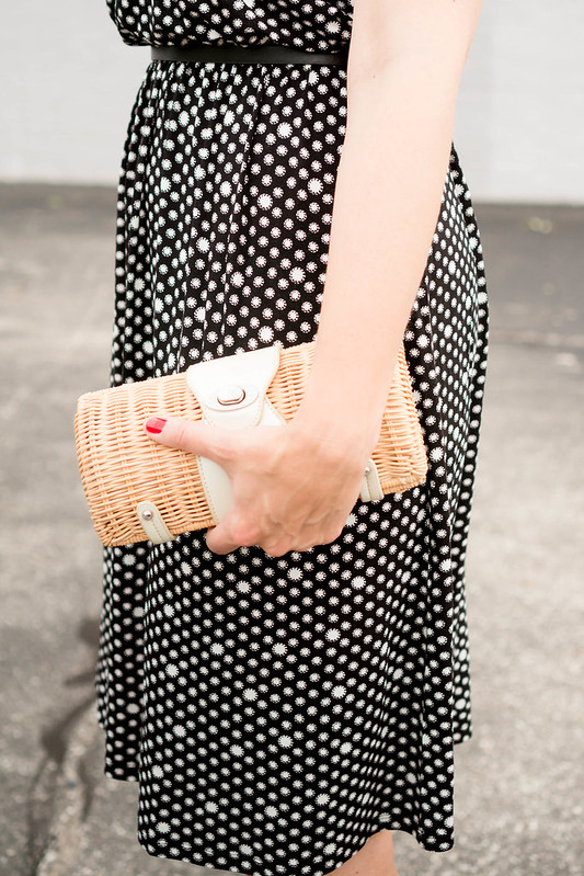 loft dot dress + black belt + wicker clutch + black block sandals + pearl statement necklace; July summer wedding outfit | Style On Target