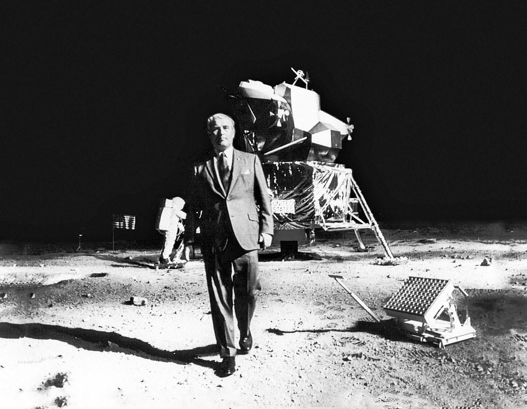 Wernher von Braun in the Apollo 11 First Moon Landing exhi ...