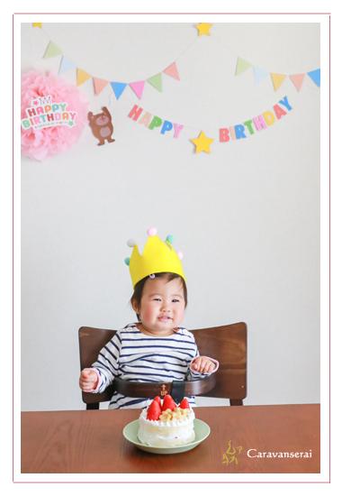 1才のお誕生日記念 バースデーケーキ 一升餅 選び取り 着物 女の子 冠 自宅へ出張撮影 データ渡し