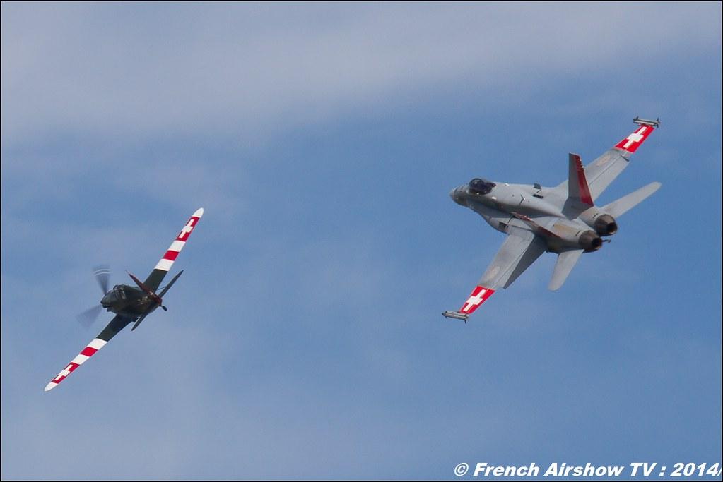 F/A-18C Hornet J-5014 Schweizer Luftwaffe 100 ans de l'aviation militaire suisse & Morane-Saulnier MS.406 D-3801 , J-143 , AIR14 Payerne , suisse , weekend 1 , AIR14 airshow , meeting aerien 2014 , Airshow