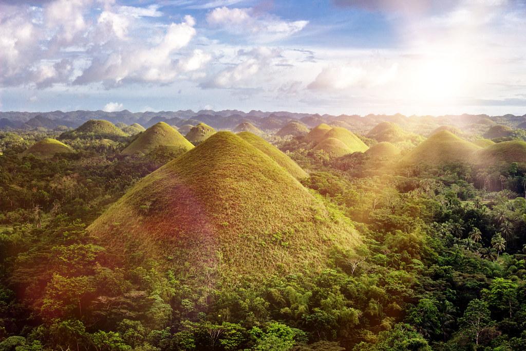 sun setting over the mysterious chocolate hills bohol isl