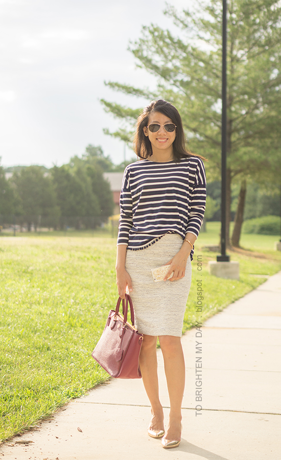 navy striped top with pom poms, tweed pencil skirt, red purple tote, metallic rose wedges