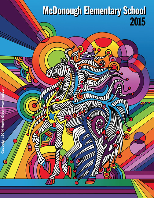 Book Cover Ideas Primary School : Pop art horse school yearbook cover i did this for an