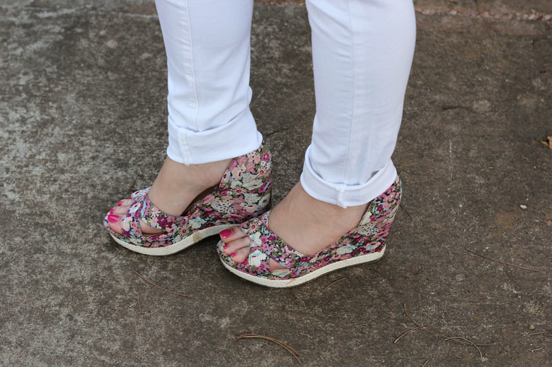 White Denim with Floral Print Wedge Sandals