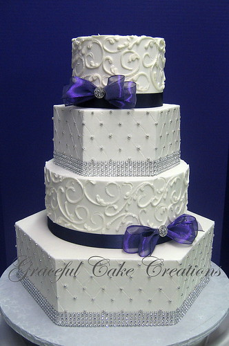 Wedding Cakes Grey And White On Stands