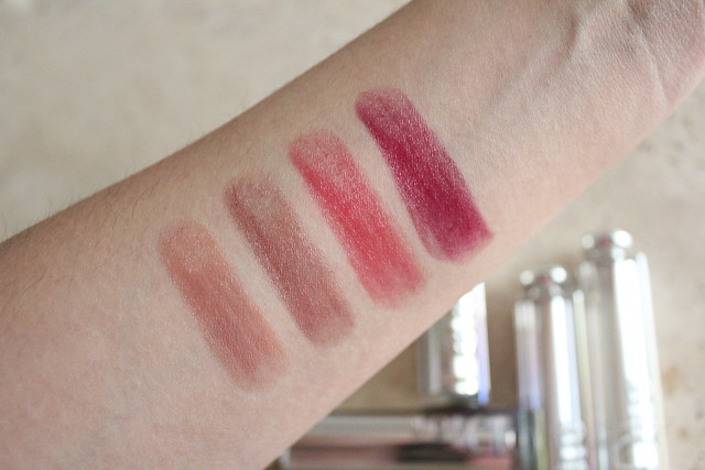 Swatches of Dior Addict Lipsticks for fall 2016