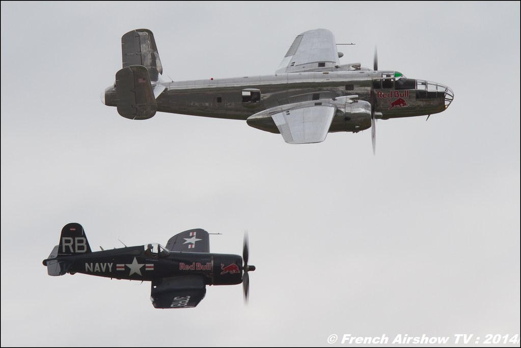 The Flying Bulls North American B-25 Mitchell - N6123C , Vought F4U-4 Corsair OE-EAS , AIR14 Payerne , suisse , weekend 1 , AIR14 airshow , meeting aerien 2014 , Airshow
