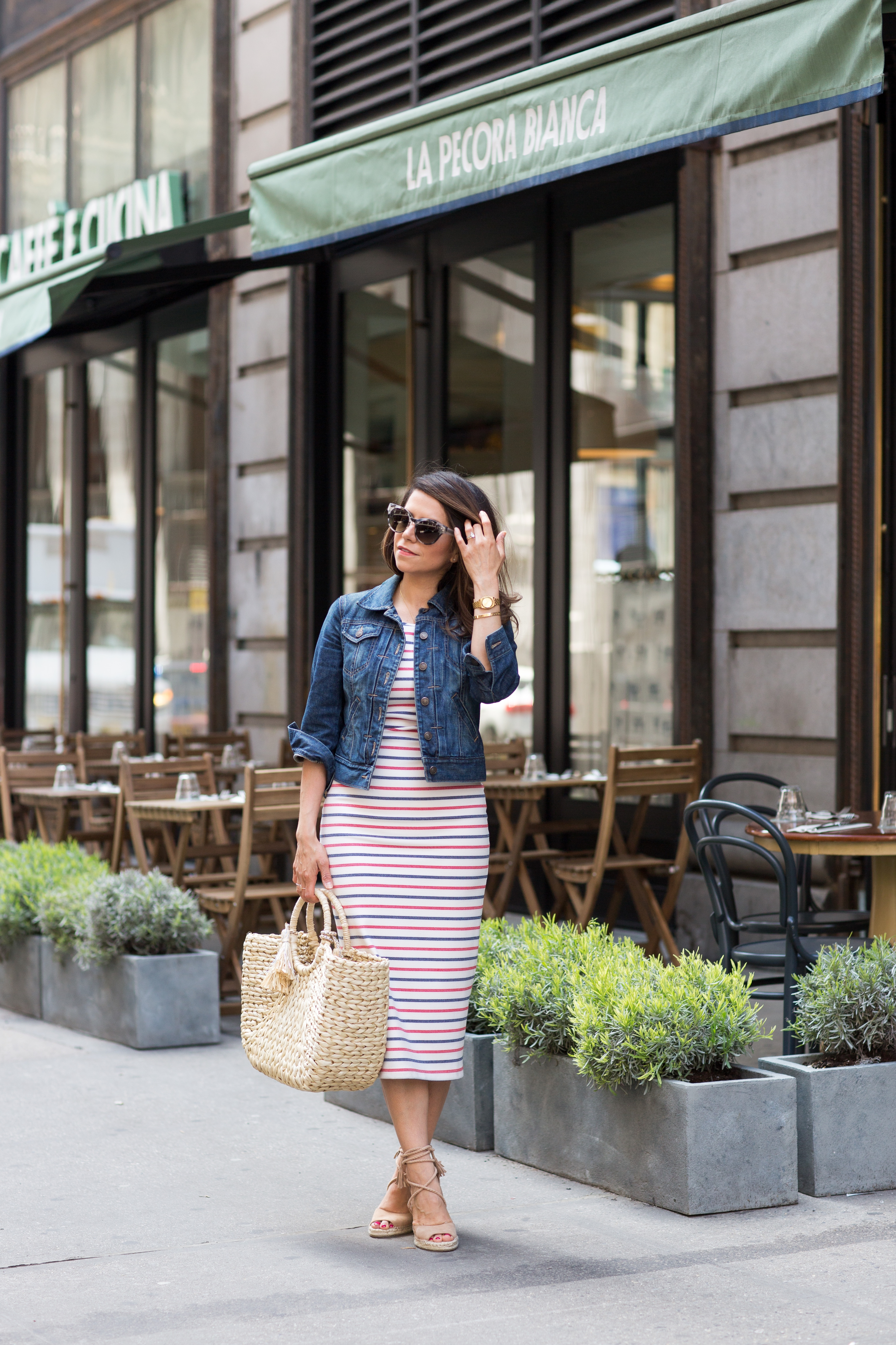 weekend style in the summer wearing stripe dress with denim jacket and woven tote by Corporate Catwalk
