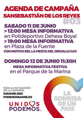 Agenda de Campaña #UnidosPodemos San Sebastián de los Reyes para las elecciones del 26J - Días 11 y 12 de Junio