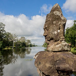 One of the god statues installed on the bridge leading to the South Gate - Angkor Thom - Cambodia