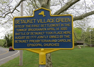 NYS Historical Sign for Setauket village Green