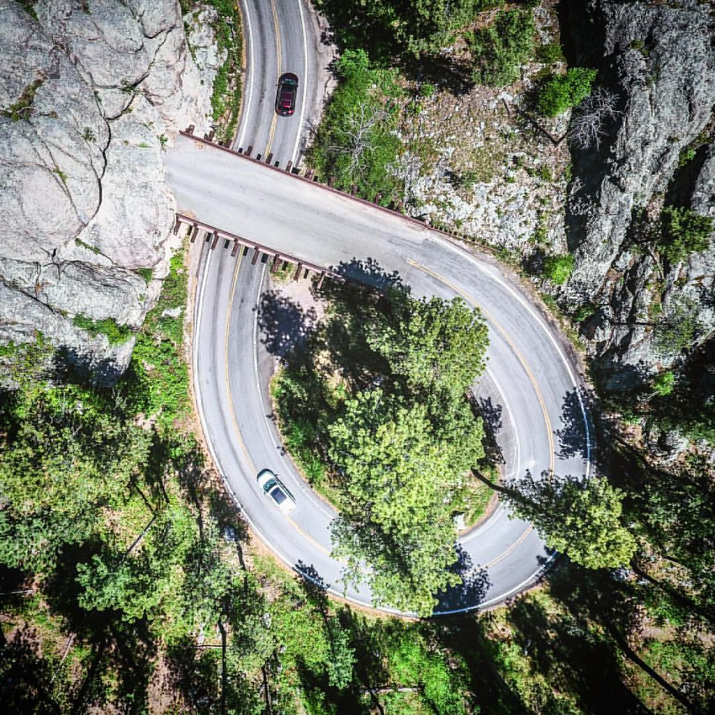 high above the pigtail bridges of the iron mountain road b