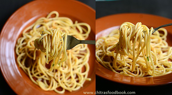 Spaghetti recipe Indian Vegetarian